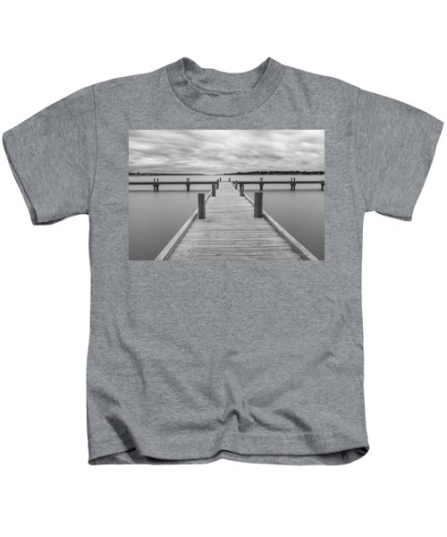 White Rock Lake Pier Black And White Kids T-Shirt