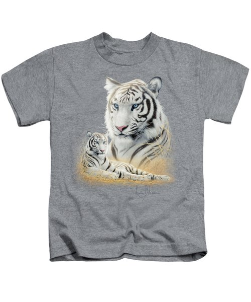 White Tiger Kids T-Shirt by Lucie Bilodeau