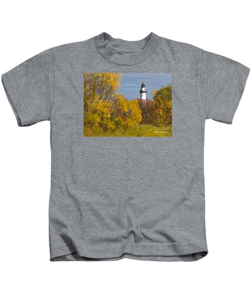 Wind Point Lighthouse In Fall Kids T-Shirt