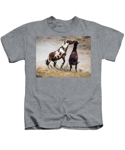Wild Stallion Battle - Picasso And Dragon Kids T-Shirt