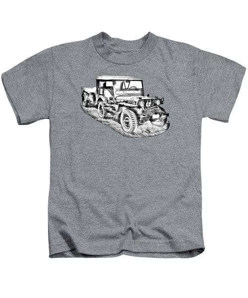 Willys World War Two Army Jeep Illustration Kids T-Shirt