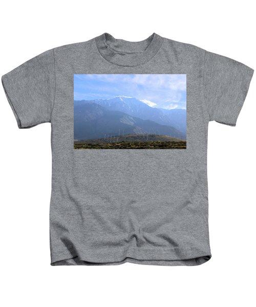 Windmills At San Jacinto Mt Kids T-Shirt
