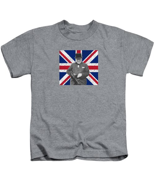 Winston Churchill And His Flag Kids T-Shirt