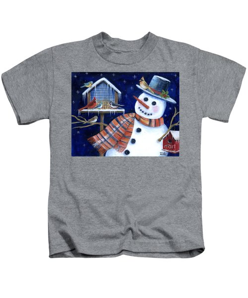 Winter Birds Delight Kids T-Shirt