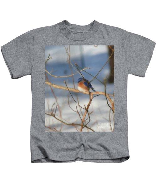 Winter Bluebird Art Kids T-Shirt