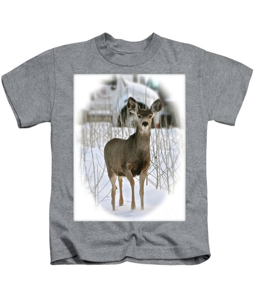 Winter Deer On The Tree Farm Kids T-Shirt