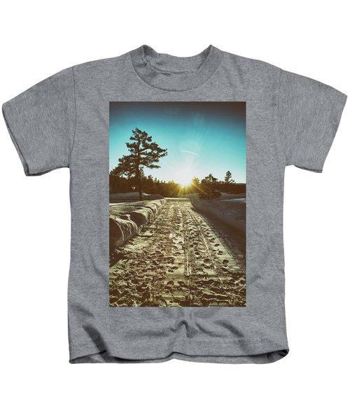 Winter Driveway Sunset Kids T-Shirt