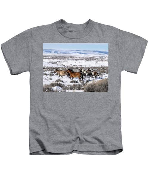 Winter In Sand Wash Basin - Wild Mustangs On The Run Kids T-Shirt