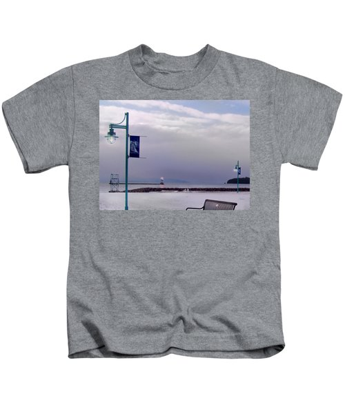 Winter Lights To Rock Point - Derivative Of Evening Sentries At The Coast Guard Station Kids T-Shirt
