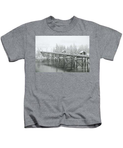 Winter Morning In The Pier Kids T-Shirt