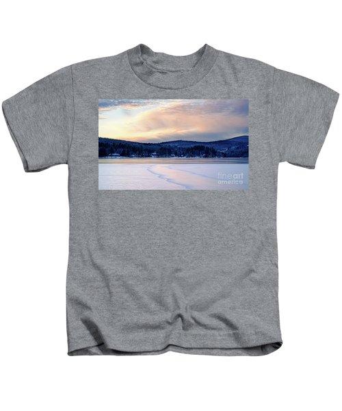 Winter Sunset On Wilson Lake In Wilton Me  -78091-78092 Kids T-Shirt