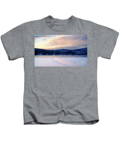 Winter Sunset On Wilson Lake In Wilton Me  -78091-78092 Kids T-Shirt