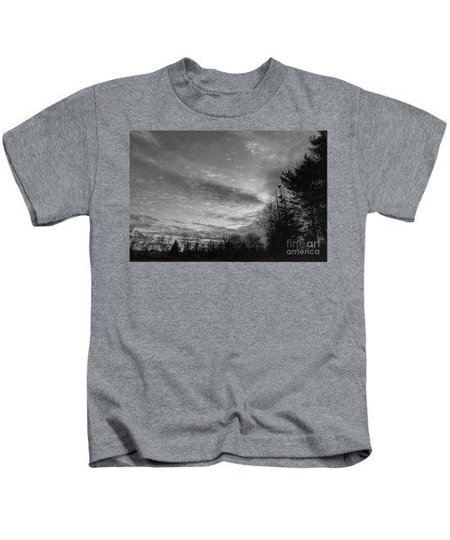 Winter Sunset On Woodland Lake Kids T-Shirt