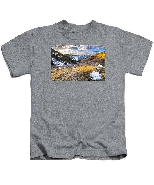 Winter Sunset Over Clear Creek Canyon Kids T-Shirt