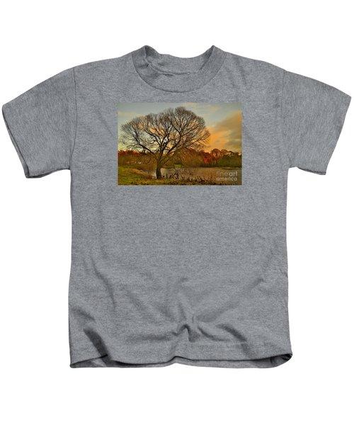 Winter Tree On The River Tweed Kids T-Shirt