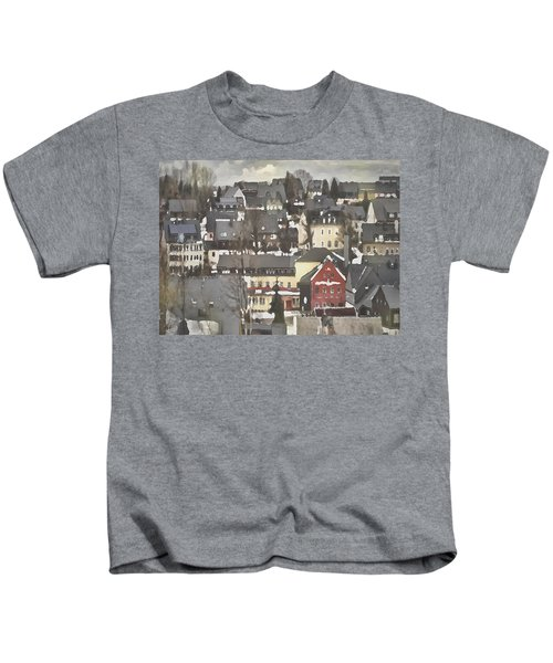 Winter Village With Red House Kids T-Shirt