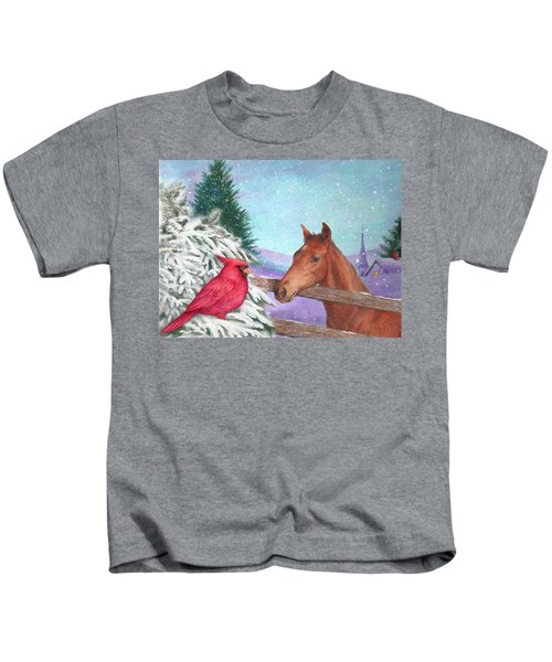 Winterscape With Horse And Cardinal Kids T-Shirt