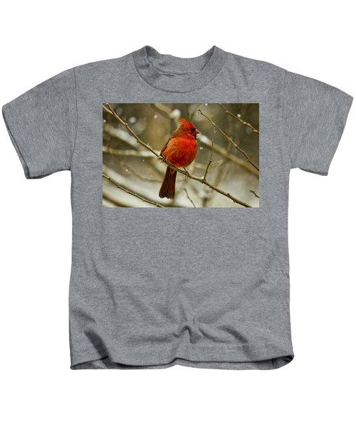 Wintry Cardinal Kids T-Shirt