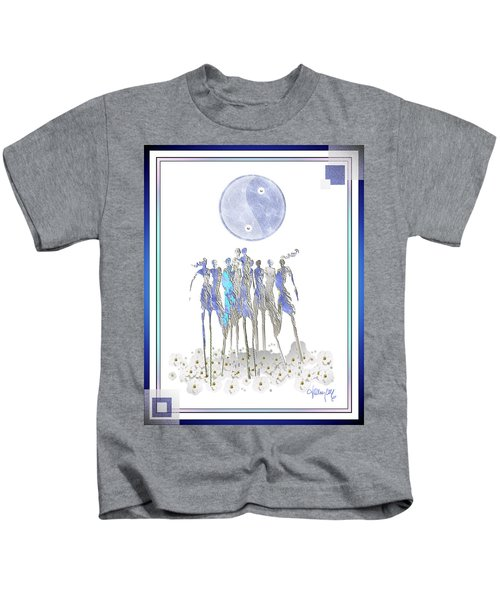 Women Chanting - Full Moon Flower Song Kids T-Shirt