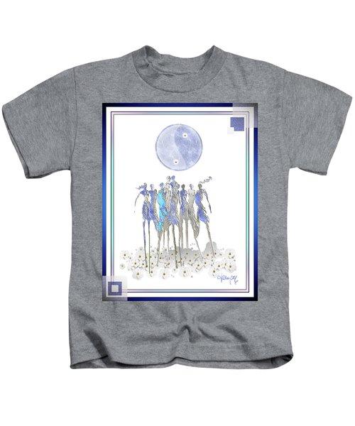 Women Chanting - Full Moon Flower Song Kids T-Shirt