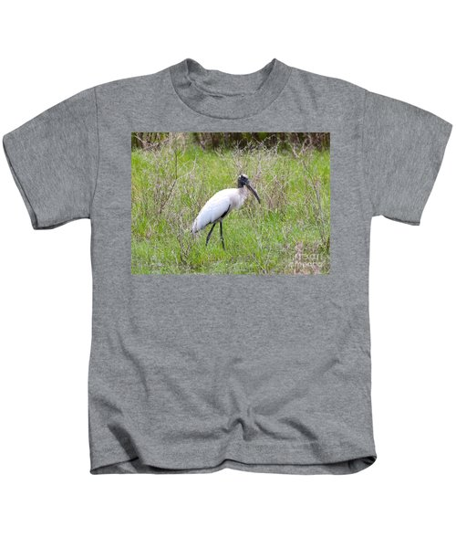 Wood Stork In The Marsh Kids T-Shirt