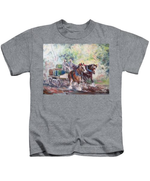 Working Clydesdale Pair, Victoria Breweries. Kids T-Shirt