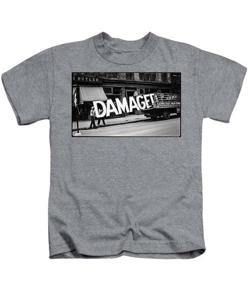 Workmen Hauling Damaged Sign Walker Evans Photo New York City 1930 Color Added 2008 Kids T-Shirt