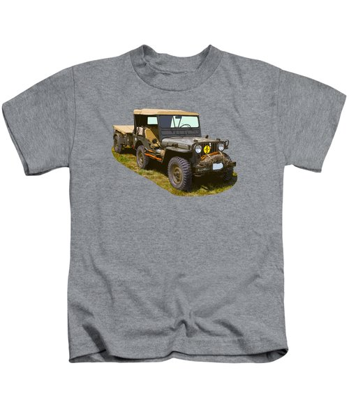 World War Two Army Jeep With Trailer  Kids T-Shirt