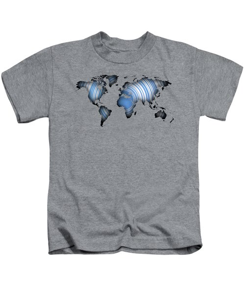 Worldmap Over Blue Circles Kids T-Shirt