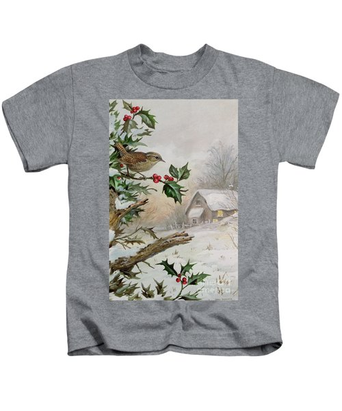 Wren In Hollybush By A Cottage Kids T-Shirt by Carl Donner