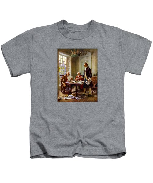 Writing The Declaration Of Independence Kids T-Shirt by War Is Hell Store