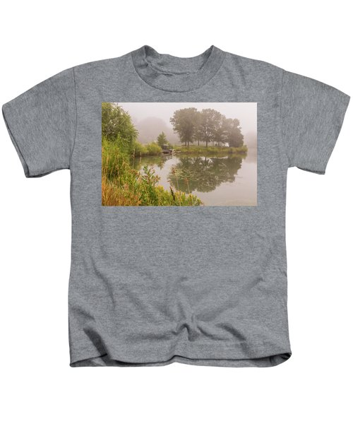 Misty Pond Bridge Reflection #5 Kids T-Shirt