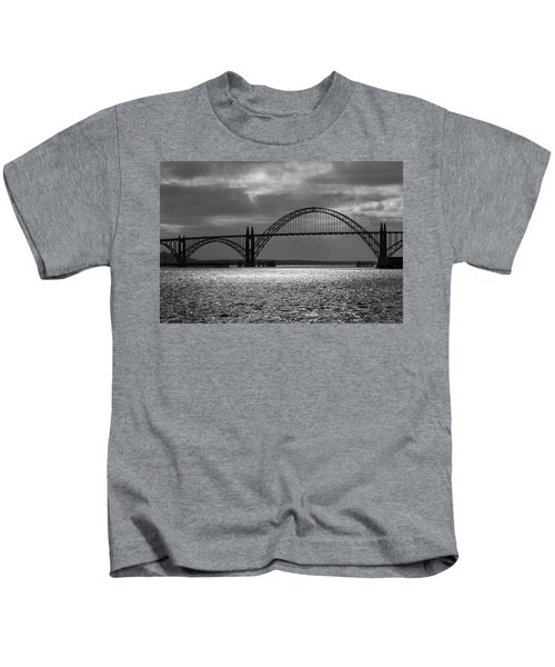 Yaquina Bay Bridge Black And White Kids T-Shirt