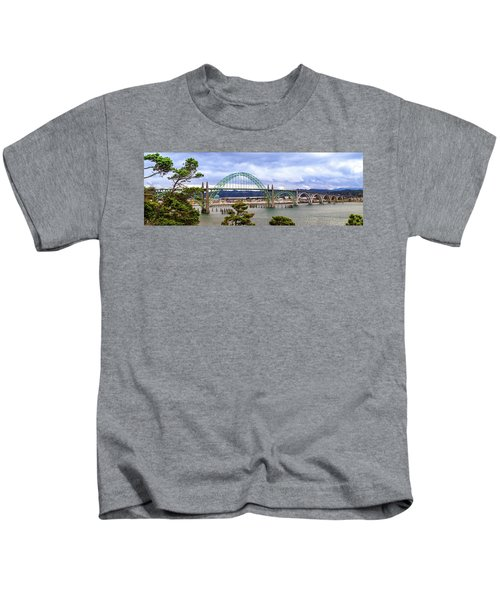 Yaquina Bay Bridge Panorama Kids T-Shirt