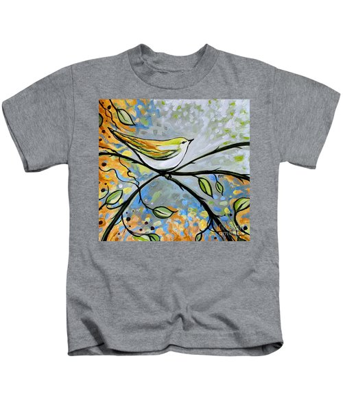Yellow Bird Among Sage Twigs Kids T-Shirt