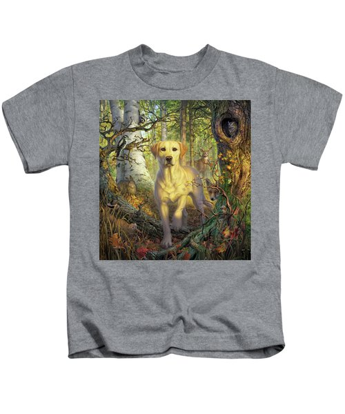 Yellow Lab In Fall Kids T-Shirt