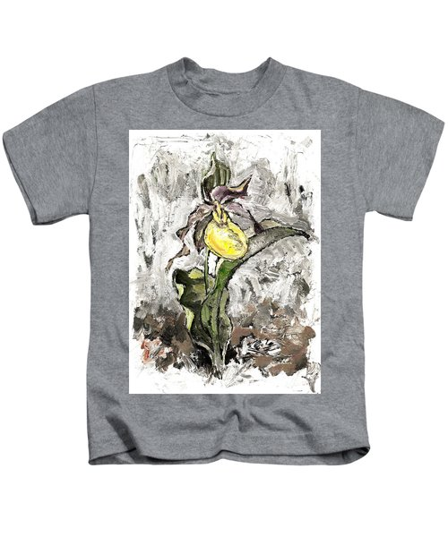 Yellow Lady's Slipper Kids T-Shirt