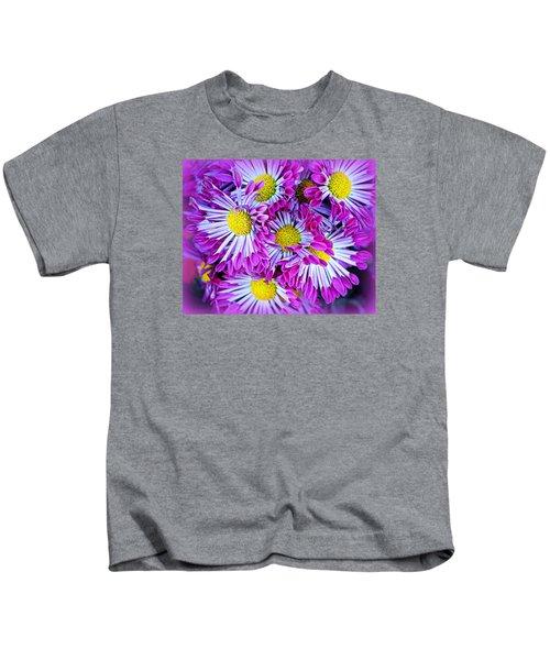 Yellow Purple And White Kids T-Shirt