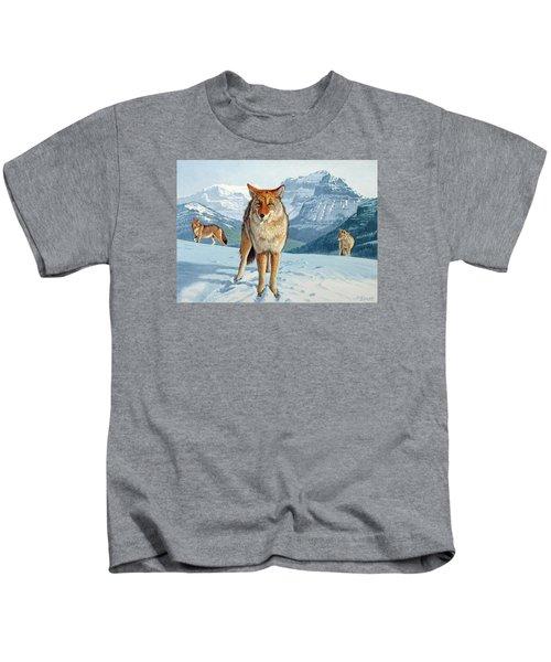 Yellowstone Coyotes Kids T-Shirt by Paul Krapf
