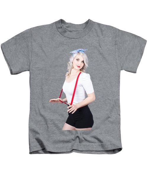 Young Beautiful Caucasian Woman In Retro Styling Kids T-Shirt