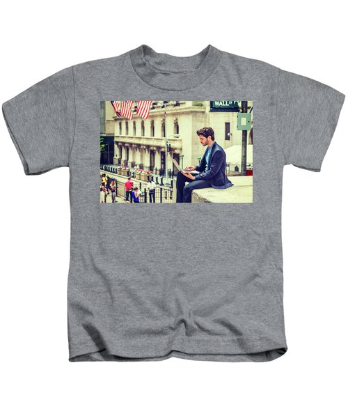 Young Businessman Working On Wall Street In New York Kids T-Shirt