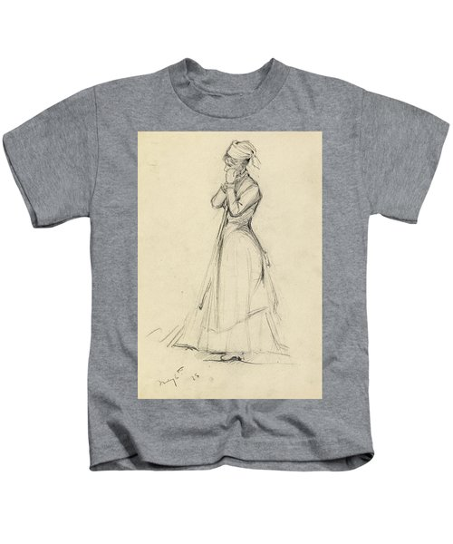 Young Woman With A Broom Kids T-Shirt