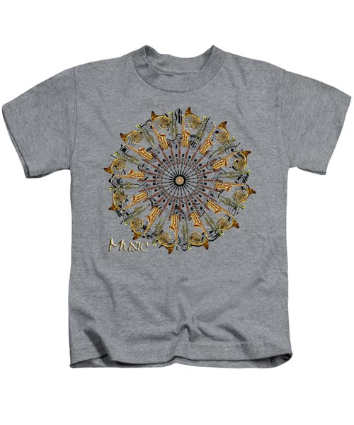 Zeerkl Of Music Kids T-Shirt by Edelberto Cabrera