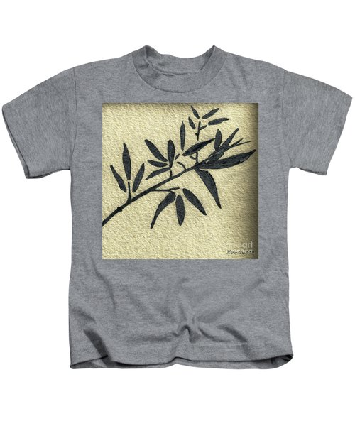 Zen Sumi Antique Botanical 4a Ink On Fine Art Watercolor Paper By Ricardos Kids T-Shirt