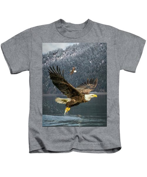 Bald Eagle With Catch Kids T-Shirt