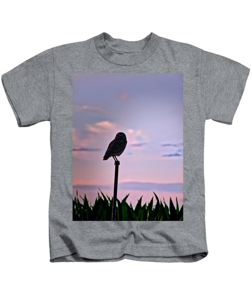 Kids T-Shirt featuring the photograph Burrowing Owl On A Stick by Judy Kennedy