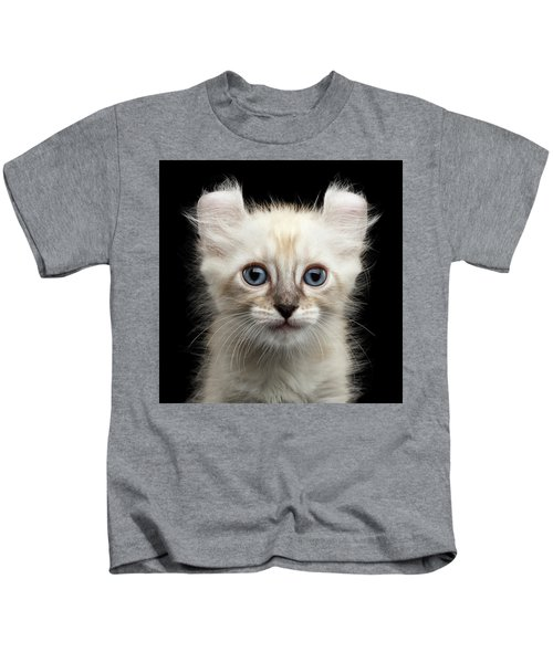 Mekong Bobtail Kitty With Blue Eyes On Isolated Black Background Kids T-Shirt