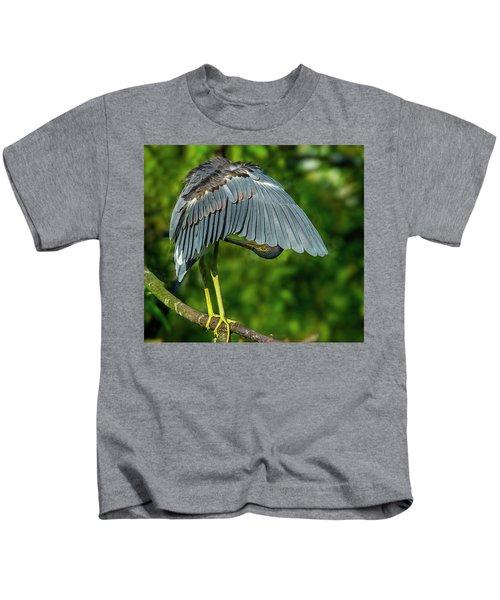 Preening Reddish Heron Kids T-Shirt