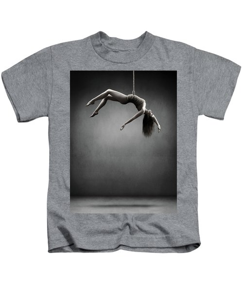 Woman Hanging On A Rope Kids T-Shirt