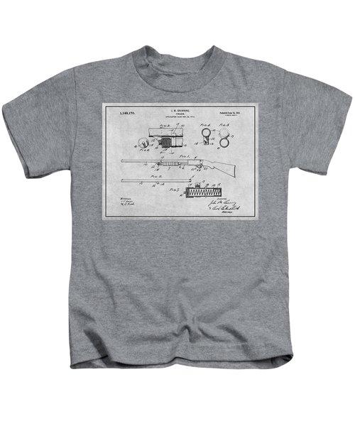 1913 Remington Model 17 Pump Shotgun Gray Patent Print Kids T-Shirt
